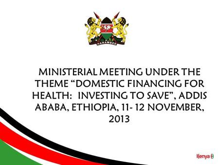 "MINISTERIAL MEETING UNDER THE THEME ""DOMESTIC FINANCING FOR HEALTH: INVESTING TO SAVE"", ADDIS ABABA, ETHIOPIA, 11- 12 NOVEMBER, 2013."