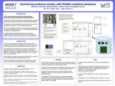 INTRODUCTION GOAL: to provide novel types of interaction between classification systems and MIAME-compliant databases We present a prototype module aimed.