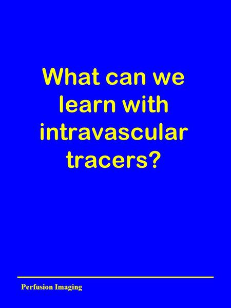 Perfusion Imaging What can we learn with intravascular tracers?