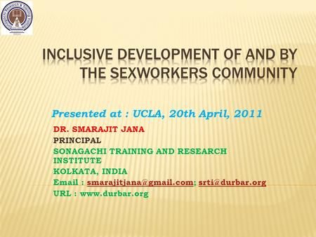 Inclusive development of and by the sexworkers community