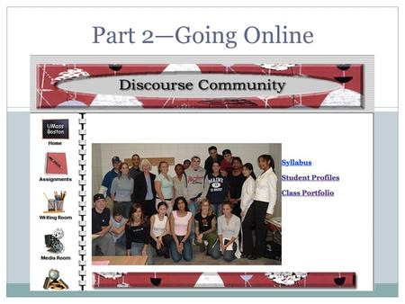 Part 2—Going Online. Creating New Communities Sharing studies of discourse communities  creating a classroom discourse community Expanding the classroom.