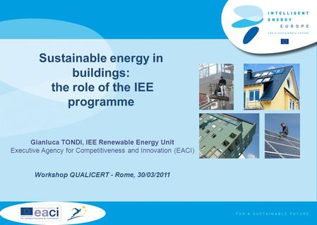 Sustainable energy in buildings: the role of the IEE programme Gianluca TONDI, IEE Renewable Energy Unit Executive Agency for Competitiveness and Innovation.