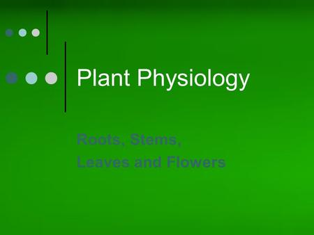Plant Physiology Roots, Stems, Leaves and Flowers.
