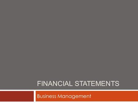 Financial Statements Business Management.