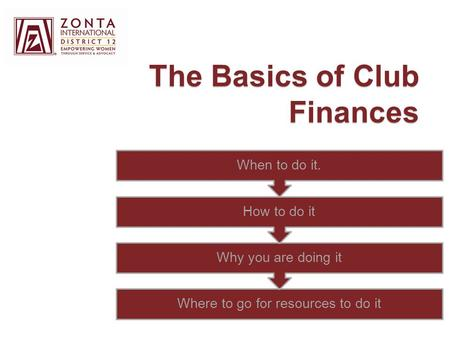 The Basics of Club Finances Where to go for resources to do it Why you are doing it How to do it When to do it.