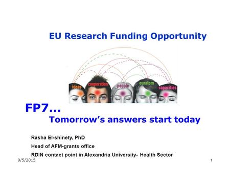 1 FP7... Tomorrow's answers start today EU Research Funding Opportunity Rasha El-shinety, PhD Head of AFM-grants office RDIN contact point in Alexandria.