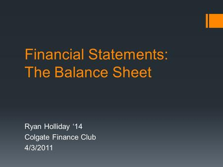 Financial Statements: The Balance Sheet