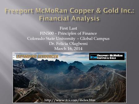 Freeport McMoRan Copper & Gold Inc.: Financial Analysis
