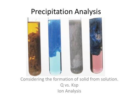 Precipitation Analysis Considering the formation of solid from solution. Q vs. Ksp Ion Analysis.