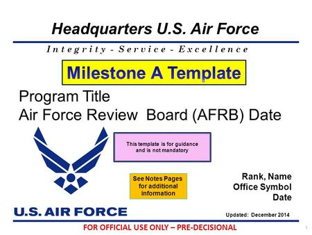 I n t e g r i t y - S e r v i c e - E x c e l l e n c e Headquarters U.S. Air Force 1 Program Title Air Force Review Board (AFRB) Date Rank, Name Office.