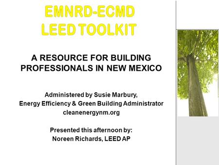 A RESOURCE FOR BUILDING PROFESSIONALS IN NEW MEXICO Administered by Susie Marbury, Energy Efficiency & Green Building Administrator cleanenergynm.org Presented.