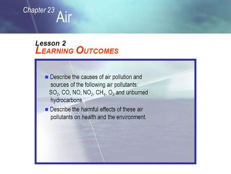 Chapter 23 Air L EARNING O UTCOMES Lesson 2 Describe the causes of air pollution and sources of the following air pollutants: SO 2, CO, NO, NO 2, CH 4,