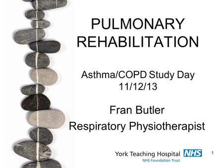 1 PULMONARY REHABILITATION Asthma/COPD Study Day 11/12/13 Fran Butler Respiratory Physiotherapist.