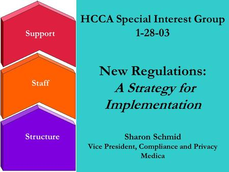 Staff Structure Support HCCA Special Interest Group 1-28-03 New Regulations: A Strategy for Implementation Sharon Schmid Vice President, Compliance and.