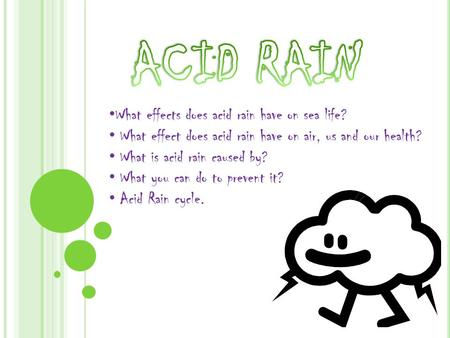 ACID RAIN What effects does acid rain have on sea life?