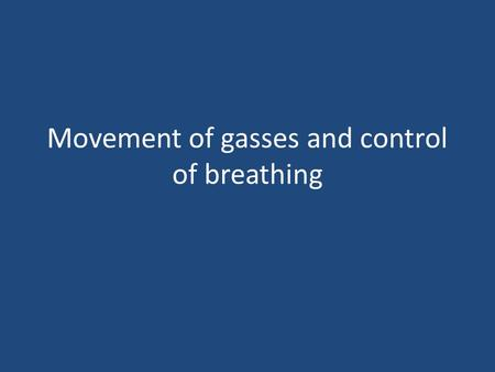 Movement of gasses and control of breathing. Overview of content How and where gas is exchanged – External Respiration – Gas transport – Internal Respiration.