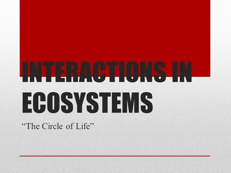 "INTERACTIONS IN ECOSYSTEMS ""The Circle of Life"". Recall… The Lion King."