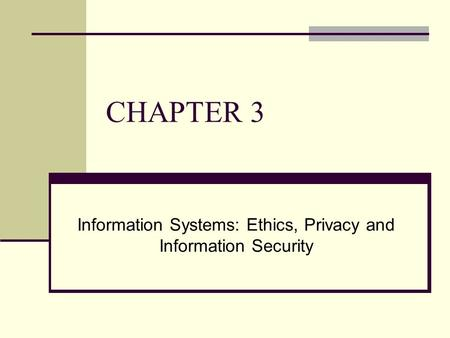 Information Systems: Ethics, Privacy and Information Security