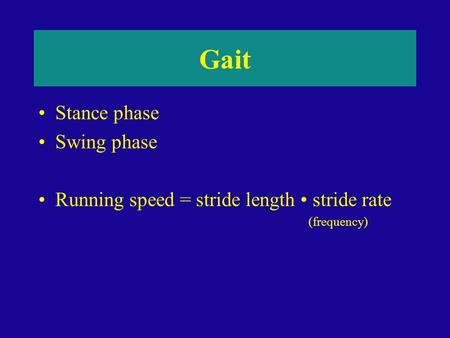 Gait Stance phase Swing phase Running speed = stride length stride rate (frequency)