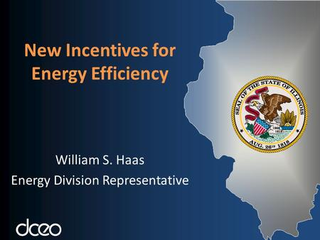 New Incentives for Energy Efficiency William S. Haas Energy Division Representative.