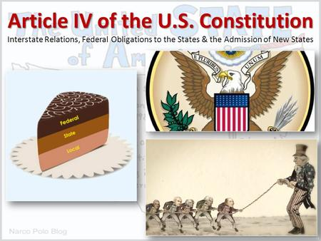 Article IV of the U.S. Constitution Interstate Relations, Federal Obligations to the States & the Admission of New States.