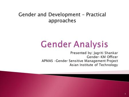 Gender and Development – Practical approaches