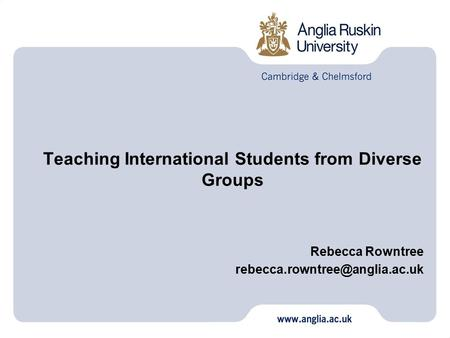 Teaching International Students from Diverse Groups Rebecca Rowntree