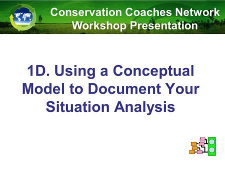 1D. Using a Conceptual Model to Document Your Situation Analysis Conservation Coaches Network Workshop Presentation.