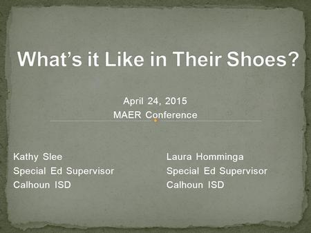 April 24, 2015 MAER Conference Kathy SleeLaura HommingaSpecial Ed SupervisorCalhoun ISD.
