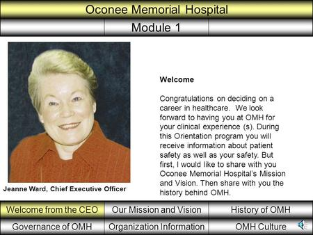 Welcome from the CEOOur Mission and VisionHistory of OMH Governance of OMHOrganization InformationOMH Culture Oconee Memorial Hospital Module 1 Jeanne.