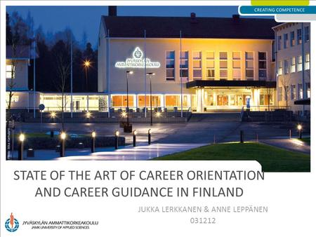 State of the art of career orientation and career guidance in Finland