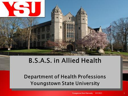 B.S.A.S. in Allied Health Department of Health Professions Youngstown State University B.S.A.S. in Allied Health Department of Health Professions Youngstown.