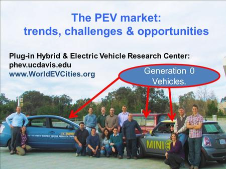 The PEV market: trends, challenges & opportunities Plug-in Hybrid & Electric Vehicle Research Center: phev.ucdavis.edu www.WorldEVCities.org Generation.