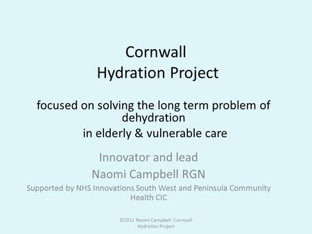 Cornwall Hydration Project