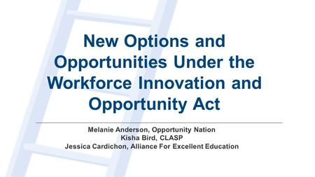 New Options and Opportunities Under the Workforce Innovation and Opportunity Act.