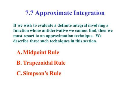7.7 Approximate Integration