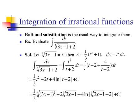 Integration of irrational functions