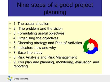 Nine steps of a good project planning