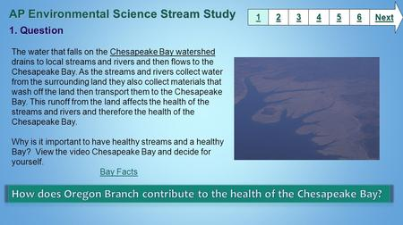 1111 2222 3333 6666 5555 4444 Next The water that falls on the Chesapeake Bay watershed drains to local streams and rivers and then flows to the Chesapeake.