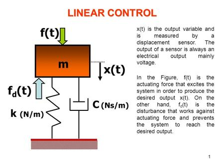 1 k (N/m) f(t) m x(t) C (Ns/m) f d (t) LINEAR CONTROL x(t) is the output variable and is measured by a displacement sensor. The output of a sensor is always.