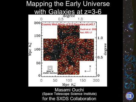 Masami Ouchi (Space Telescope Science Institute) for the SXDS Collaboration Cosmic Web Made of 515 Galaxies at z=5.7 Kona 2005 Ouchi et al. 2005 ApJ, 620,