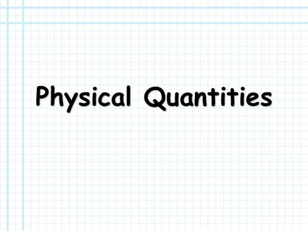 Physical Quantities. Instructions In the slides that follow, a definition or description of a physical quantity is given. You must name the quantity and.