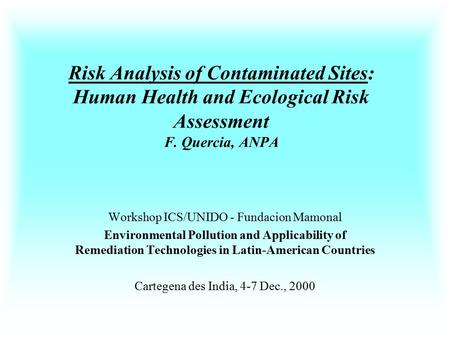 Risk Analysis of Contaminated Sites: Human Health and Ecological Risk Assessment F. Quercia, ANPA Workshop ICS/UNIDO - Fundacion Mamonal Environmental.