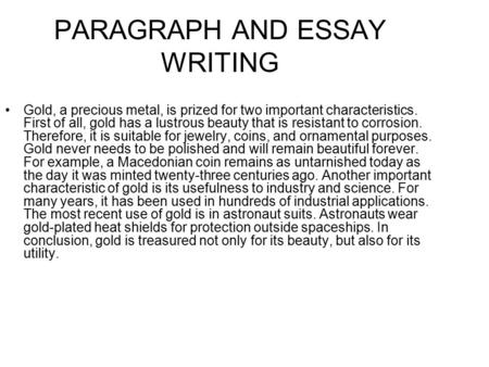 PARAGRAPH AND ESSAY WRITING