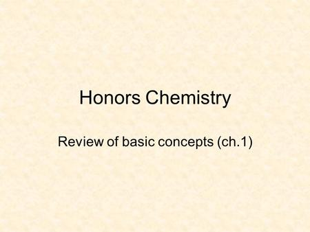 Honors Chemistry Review of basic concepts (ch.1).