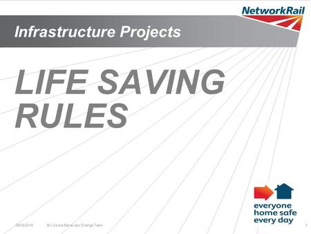 Infrastructure Projects 05/09/2015Bill Cooke Behaviour Change Team1 LIFE SAVING RULES.