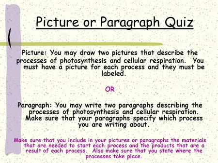 Picture or Paragraph Quiz