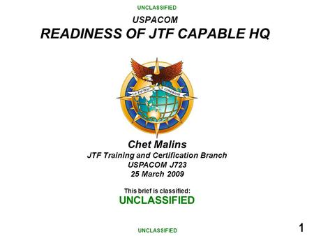 USPACOM READINESS OF JTF CAPABLE HQ