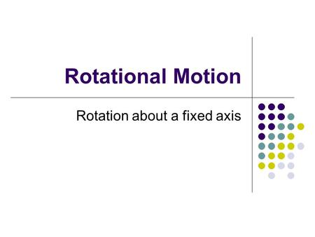 Rotational Motion Rotation about a fixed axis. Rotational Motion Translation Rotation Rolling.