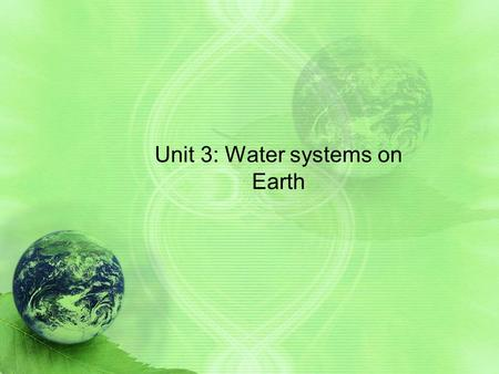 Unit 3: Water systems on Earth. Big Ideas of Unit 1.0 Water exists naturally in all three states on Earth's surface 2.0 The different characteristics.